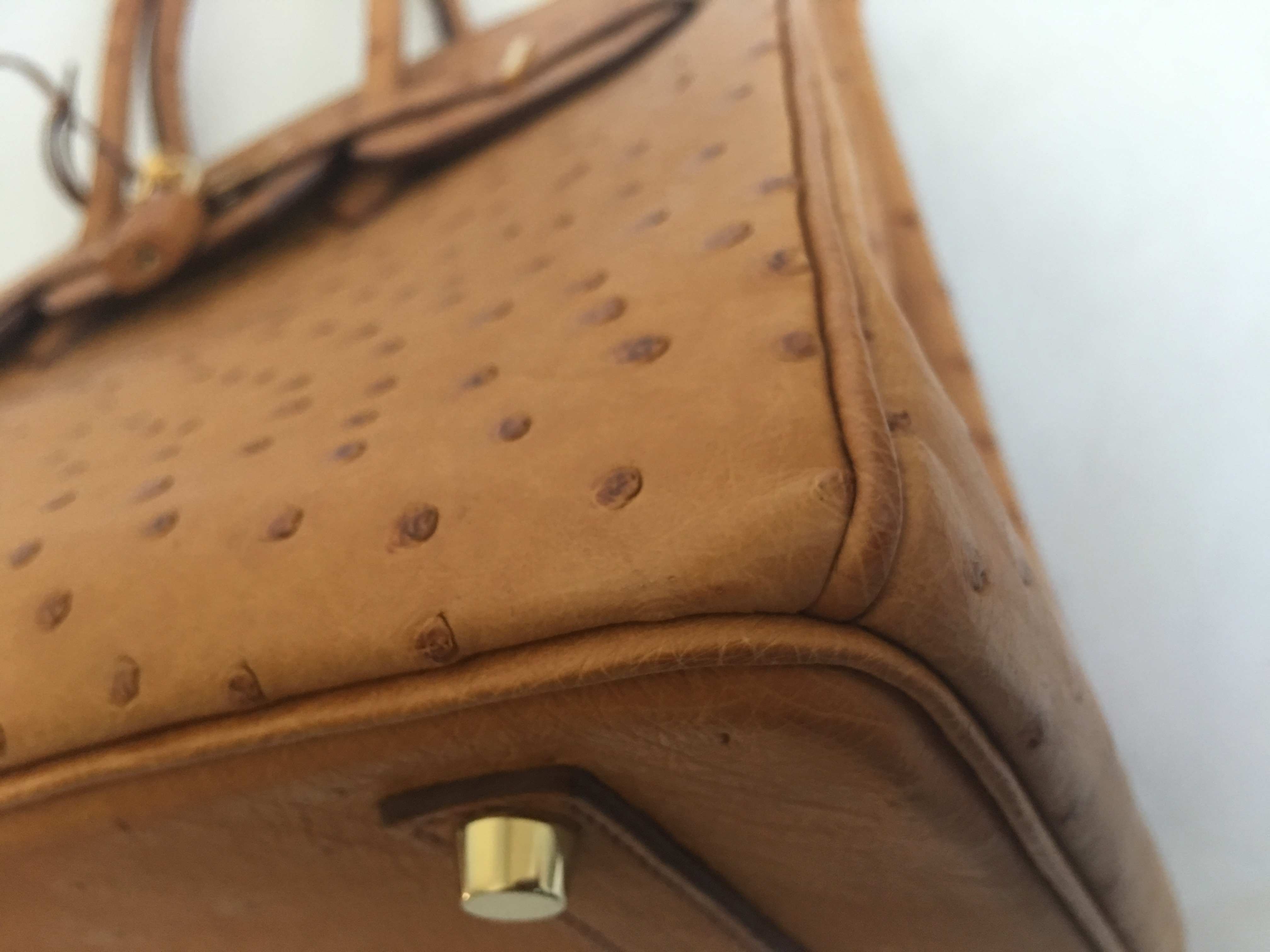 0b4b3a5508ce Hermes Ostrich Birkin 35 cm Cognac Gold Hardware Authentic HERMÈS Excellent
