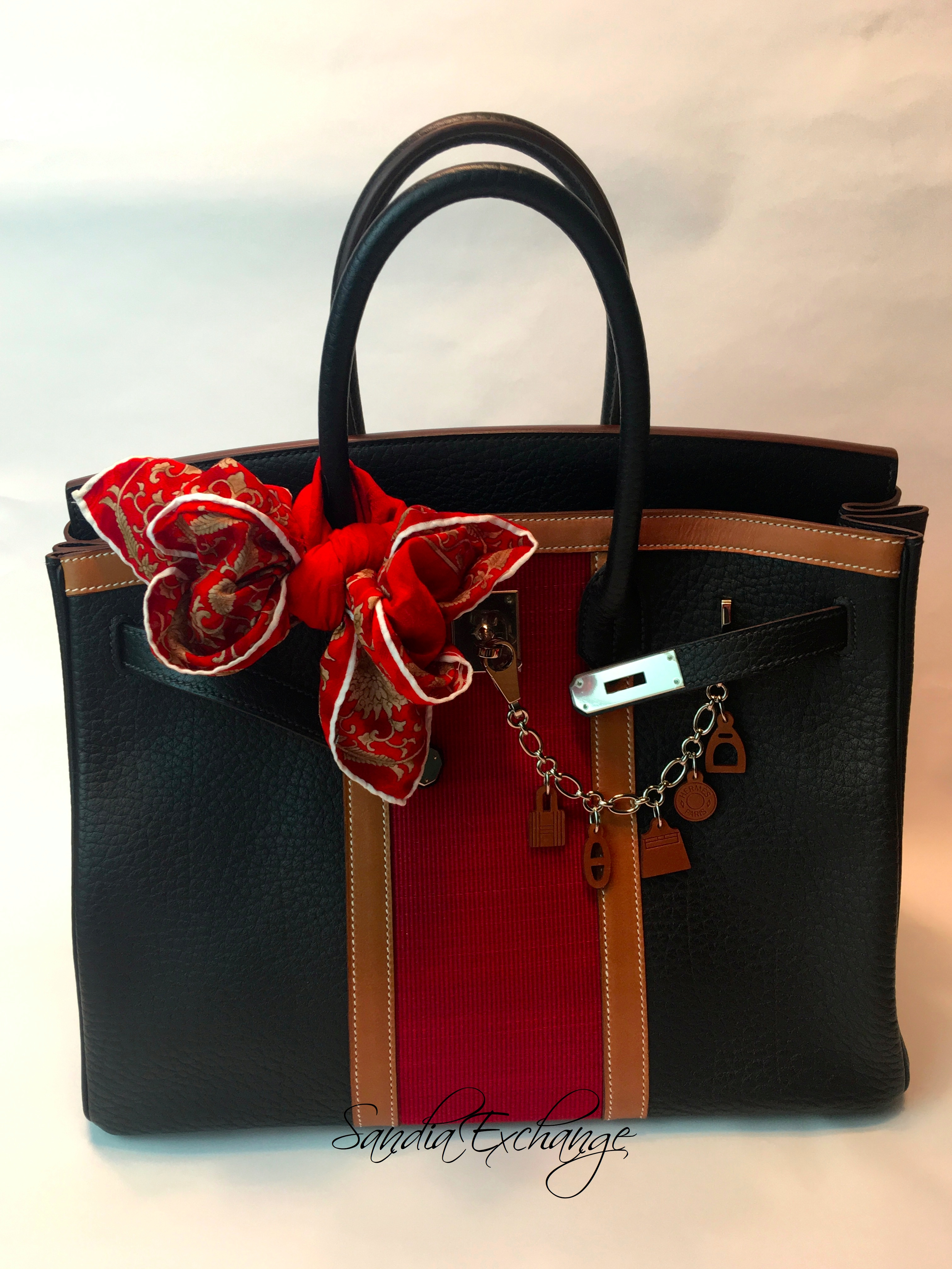 HERMES Club Birkin 35 cm Tri-Color Indigo Fauve Rouge PHW Limited Edition 1be1b1a469ff0