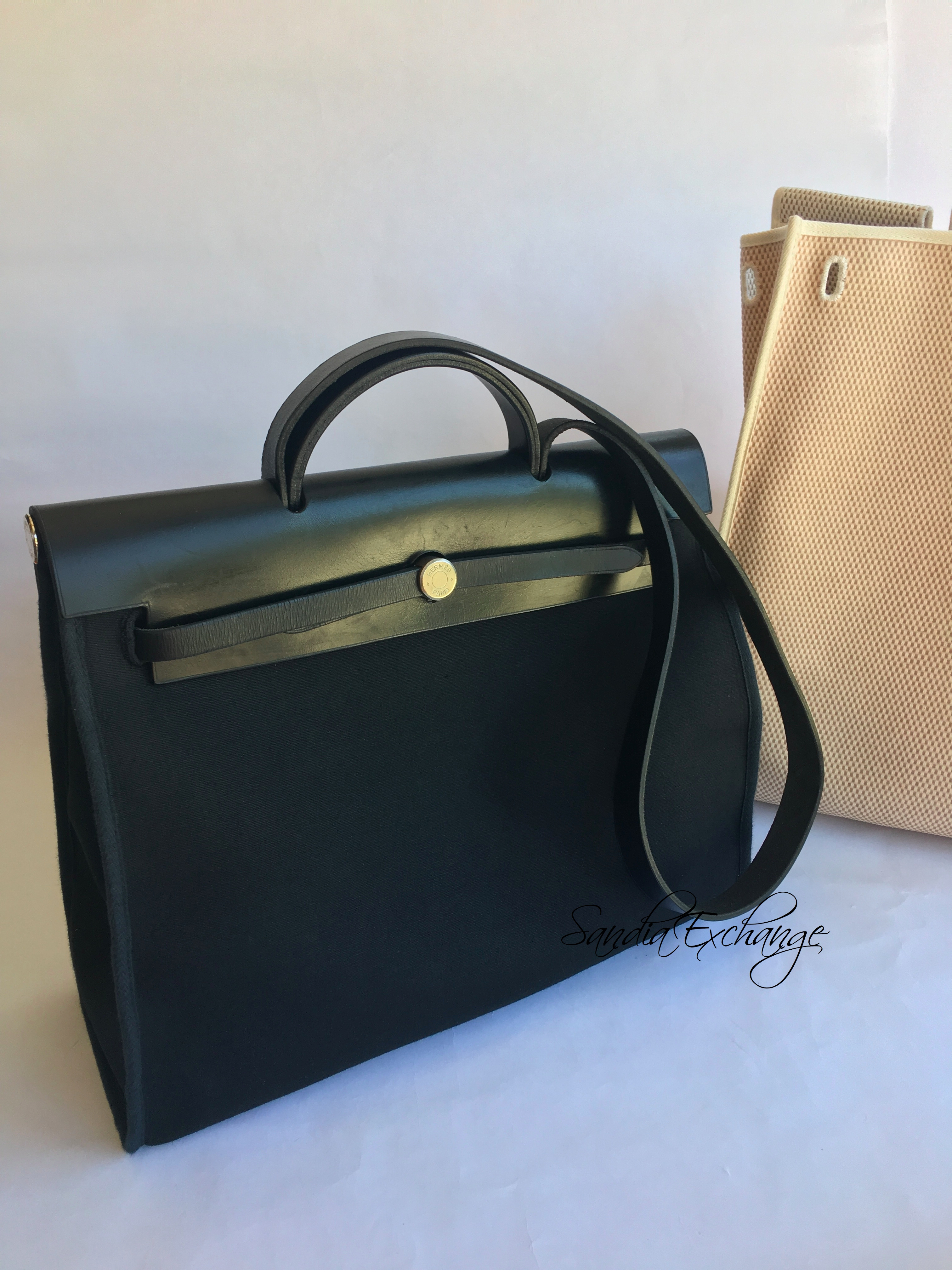 c5c70b558488 Authentic Hermes Herbag MM size Black Leather Men s bag with Replacement Bag