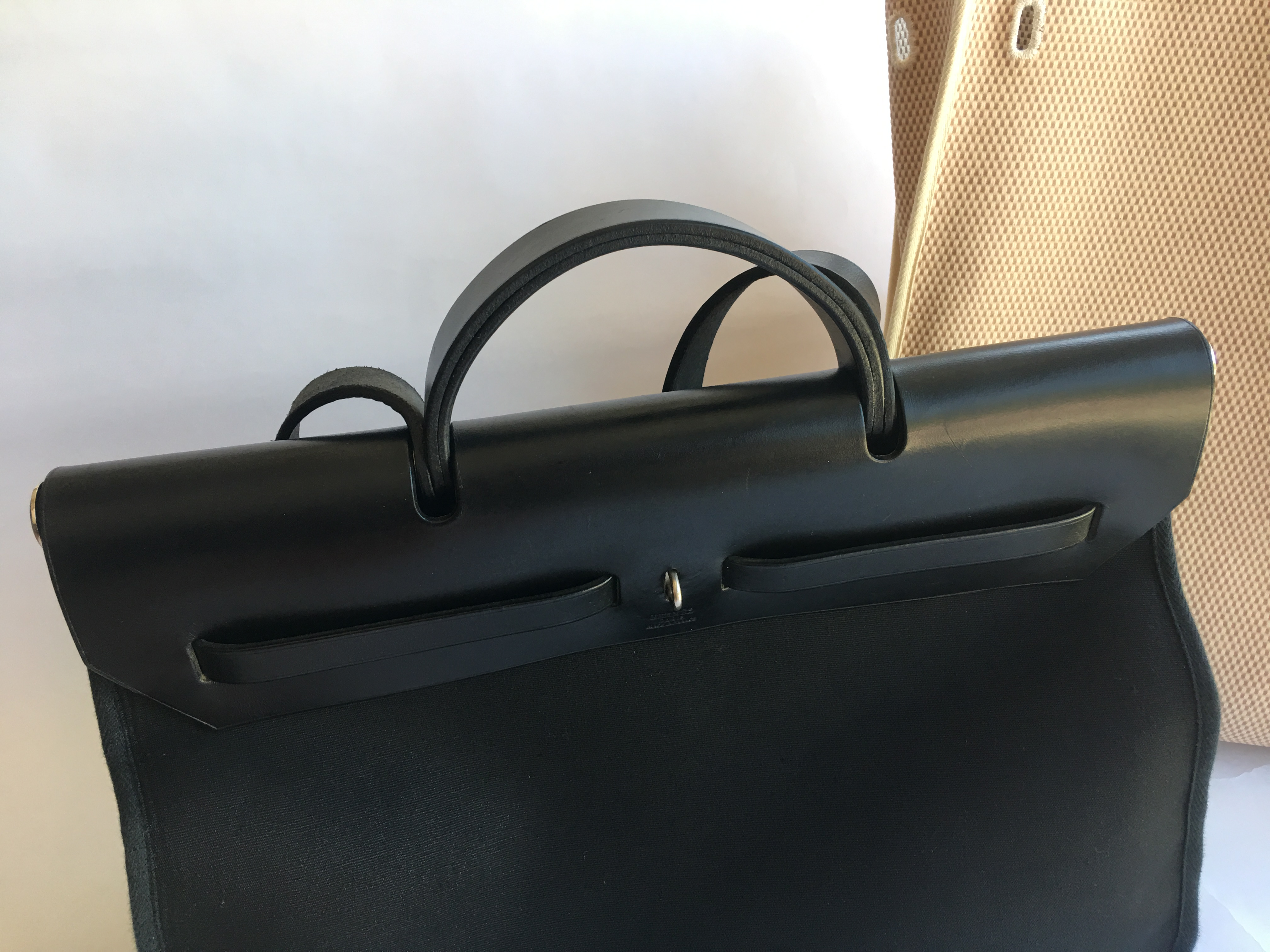 1811102f10b ... ebay authentic hermes herbag mm size black leather mens bag with  replacement bag ef9d5 0242f
