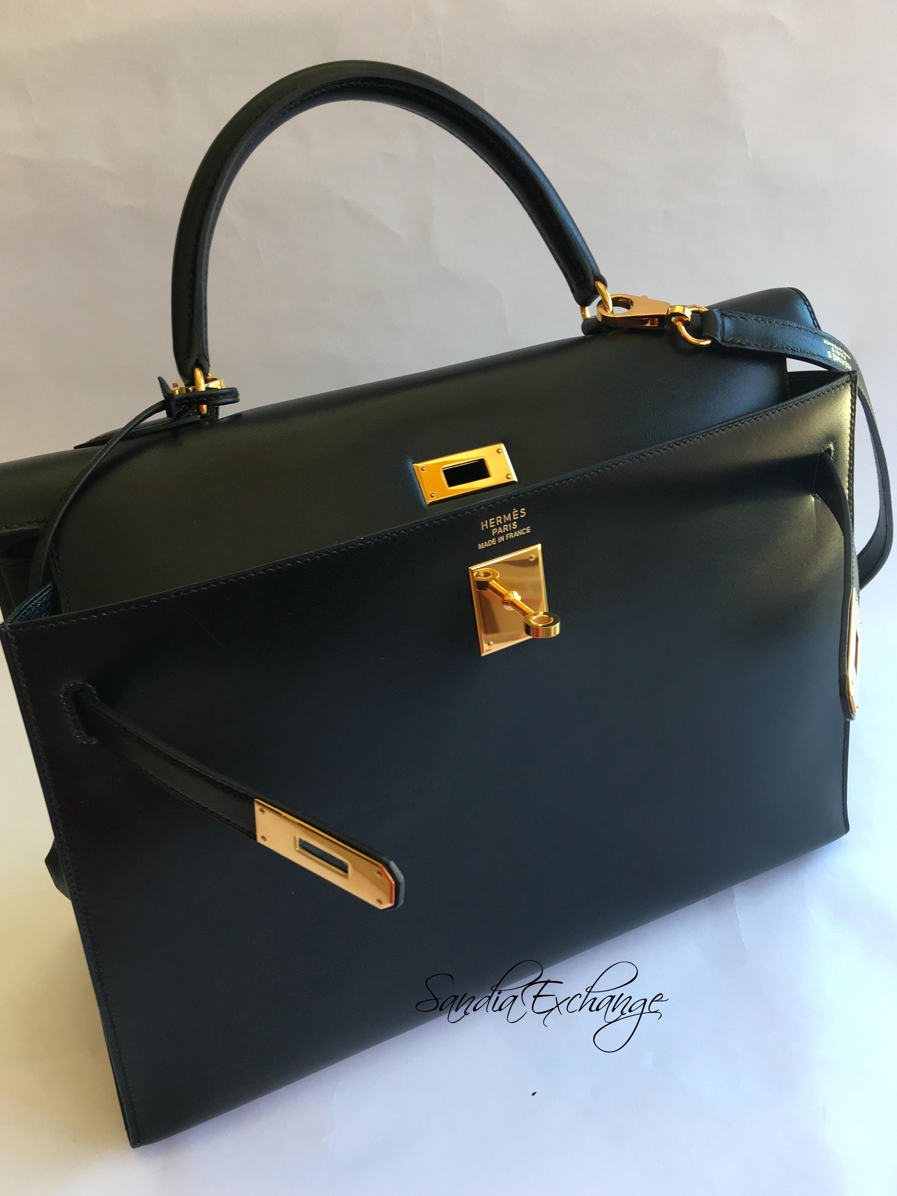 23b4ea6f90d2 Hermes Kelly 35 cm Black Box Sellier Gold Hardware Authentic Hermès ...