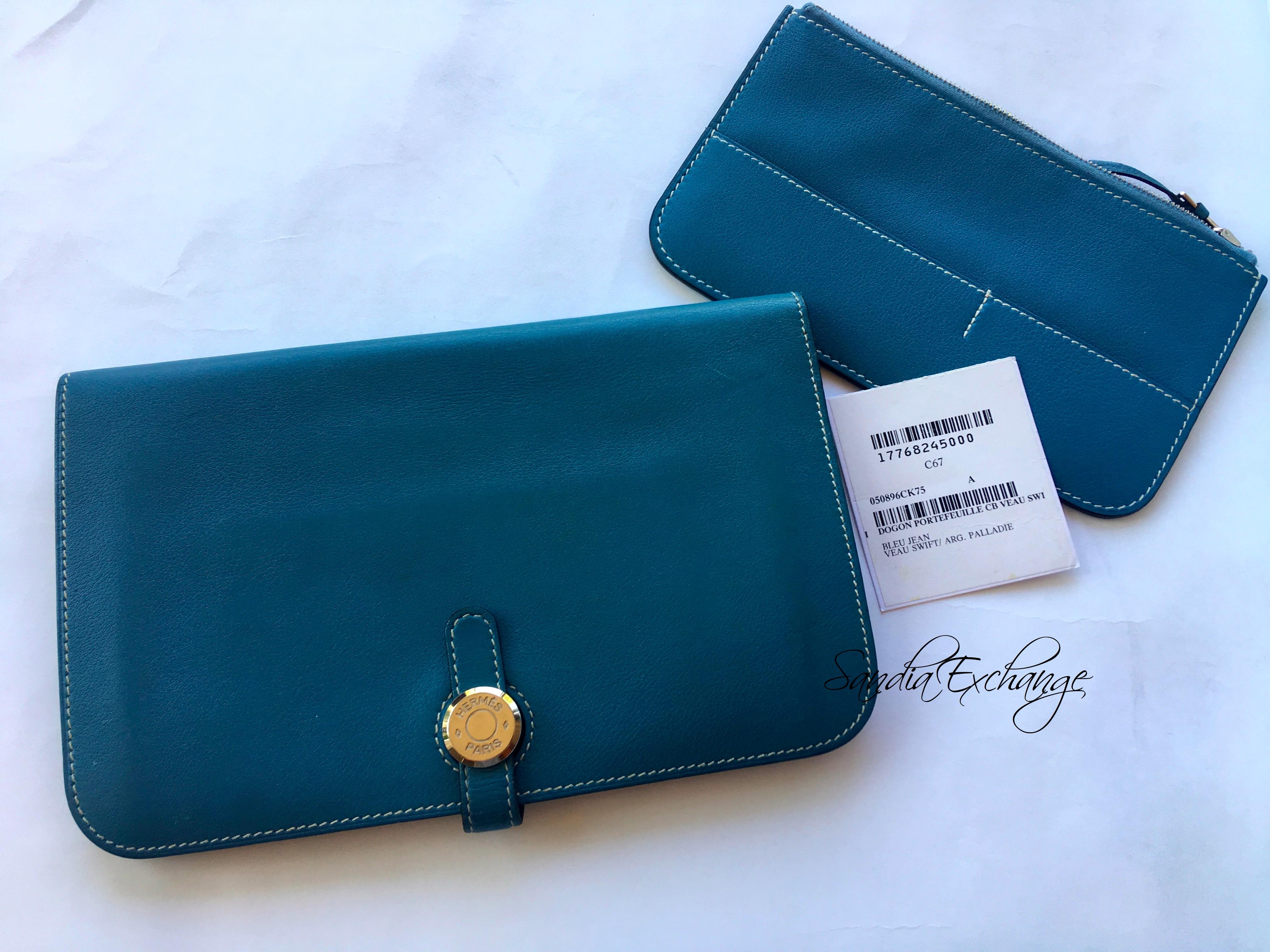 3d400b2647f Authentic HERMÈS Dogon Wallet Blue Jean Swift Palladium Hardware ...