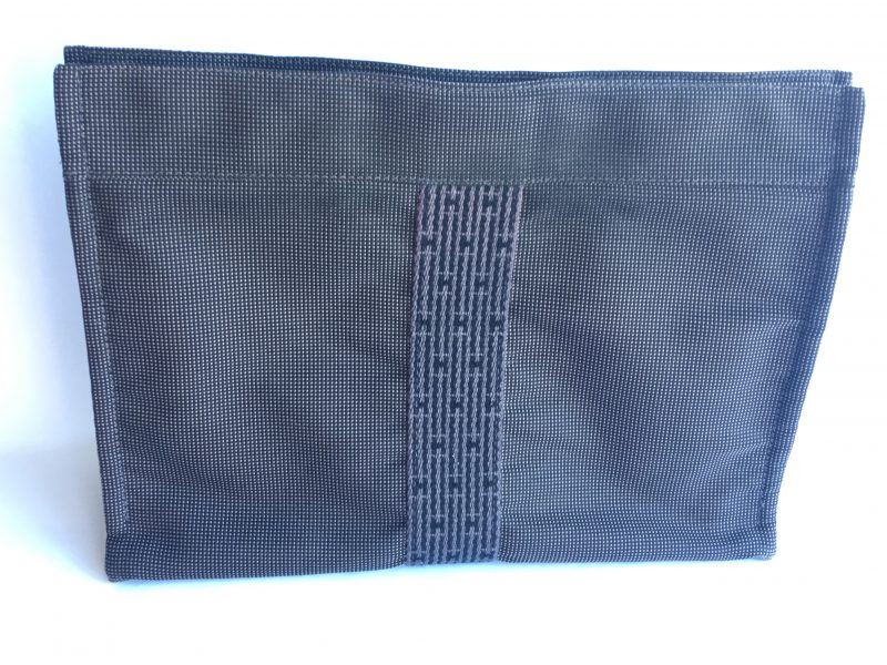 17d277628657 Authentic HERMES Herline Canvas Pochette Clutch Second Bag Grey