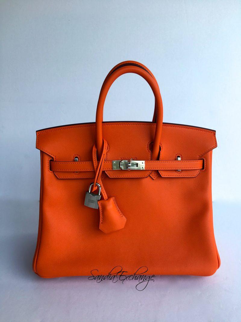 4b16d6abfaef HERMES Birkin 25 cm Orange Swift Palladium Hardware Authentic HERMÈS New in  Box
