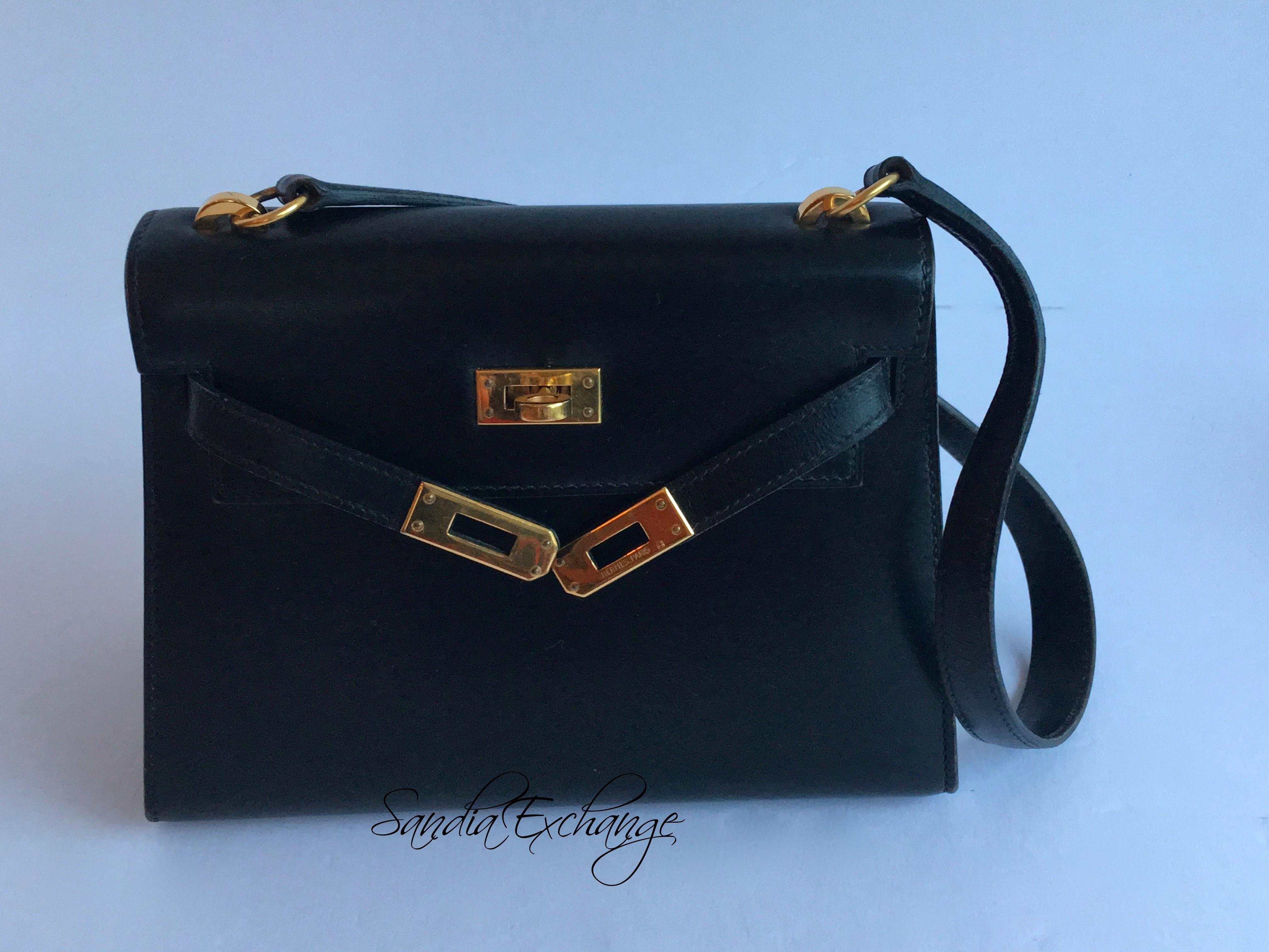 cd4907f2d08 HERMES Mini Shoulder Kelly 20cm Black Box Calf Gold Hardware Vintage ...