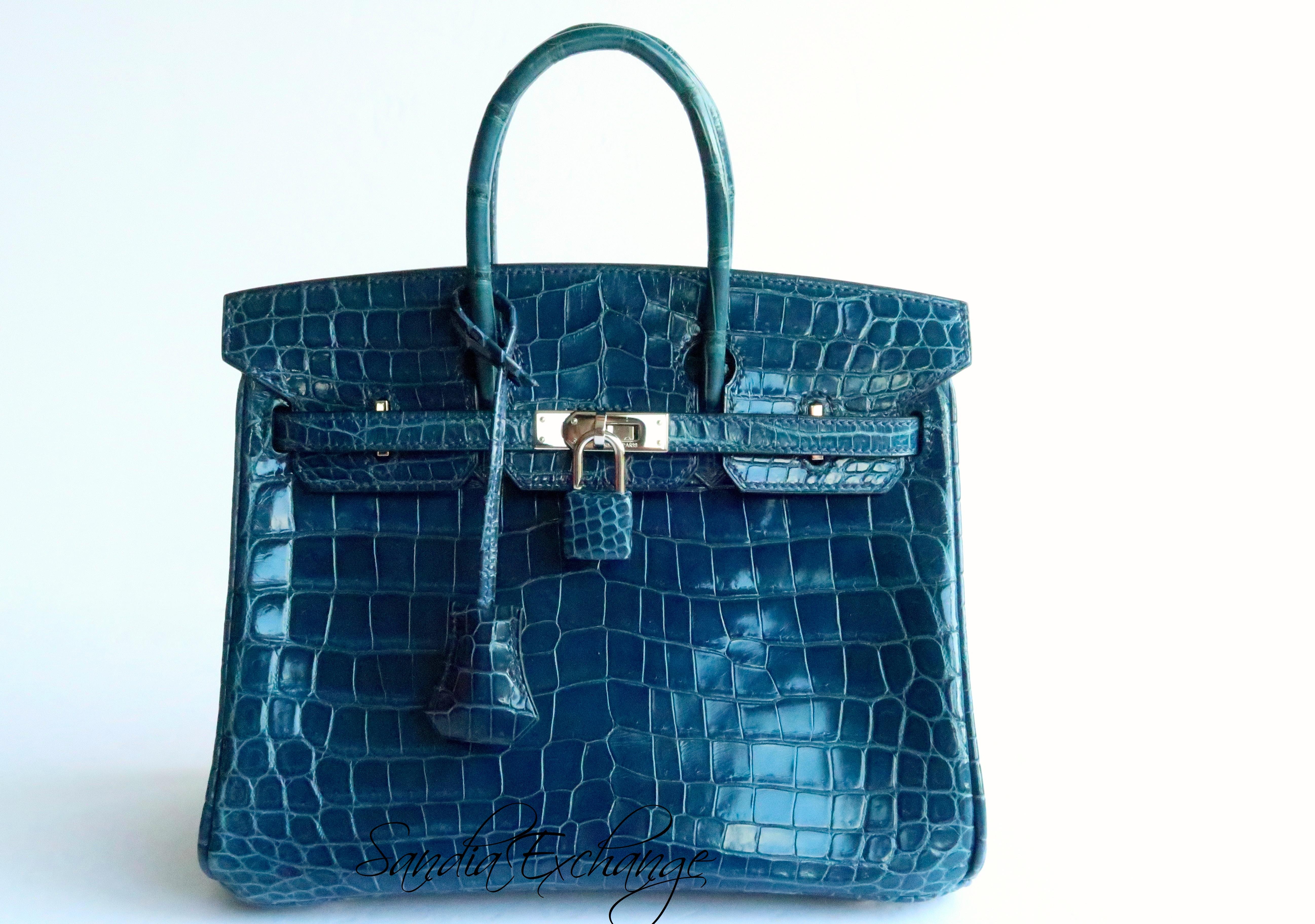 Authentic HERMES Shiny BLUE Crocodile Birkin 25 cm Palladium Hardware ... ff4e76597bd6b