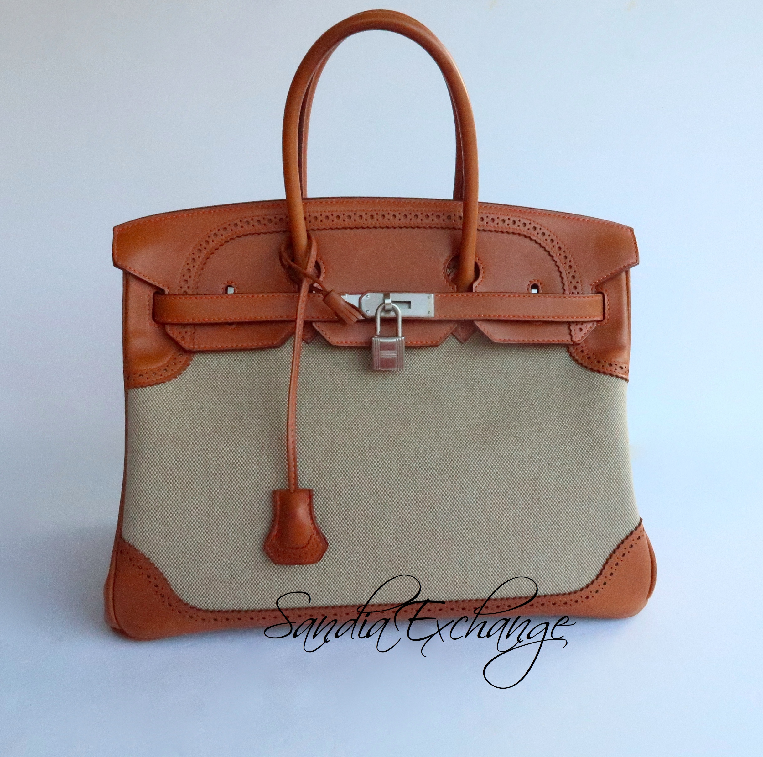 8f419eb5c9d Authentic Hermes Ghillies Birkin 35 cm Barenia Toile Brushed Silver ...