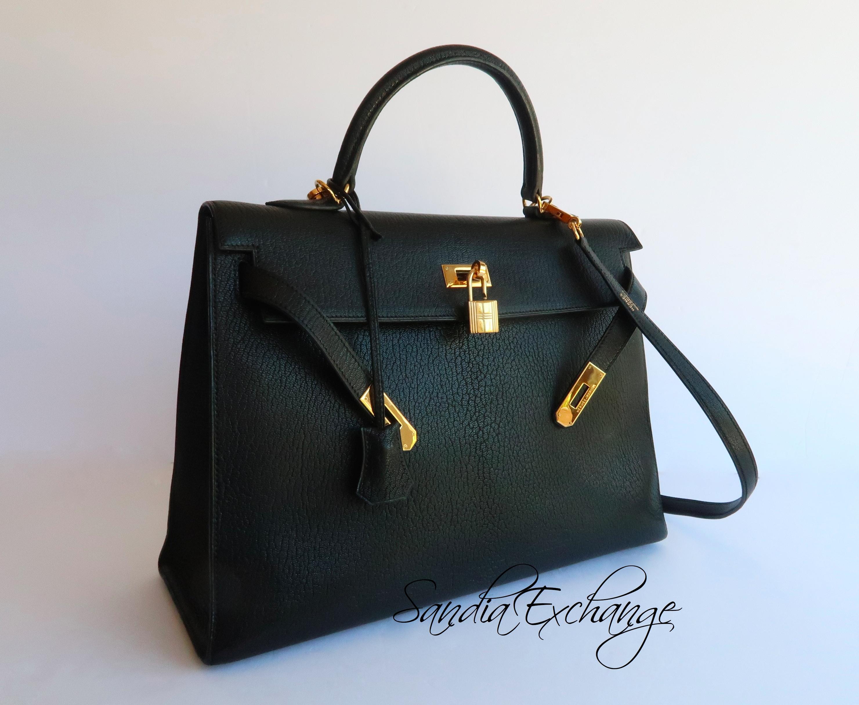 c7d76f43371a Authentic Hermes Black Chevre de Coromandel Sellier Kelly 35 cm Gold ...