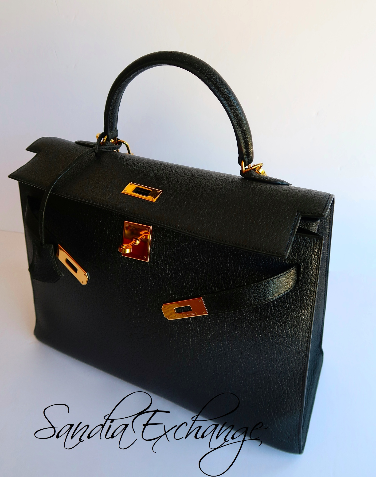 Authentic Hermes Black Chevre de Coromandel Sellier Kelly 35 cm Gold  Hardware 8c6132ff6b0ee