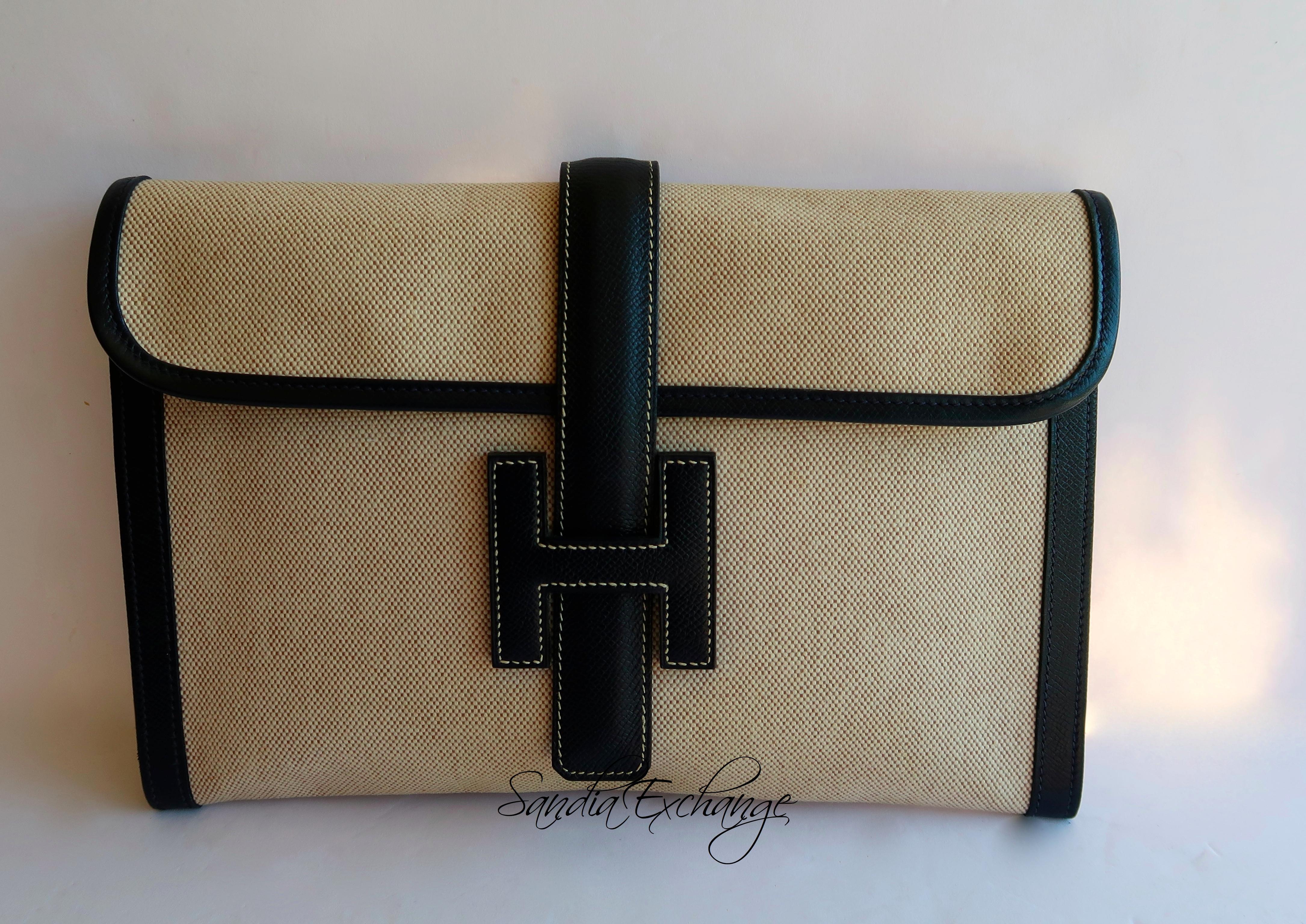 3145545f048d Vintage Hermes Jige Clutch 29 cm PM size Navy Courchevel Toile ...