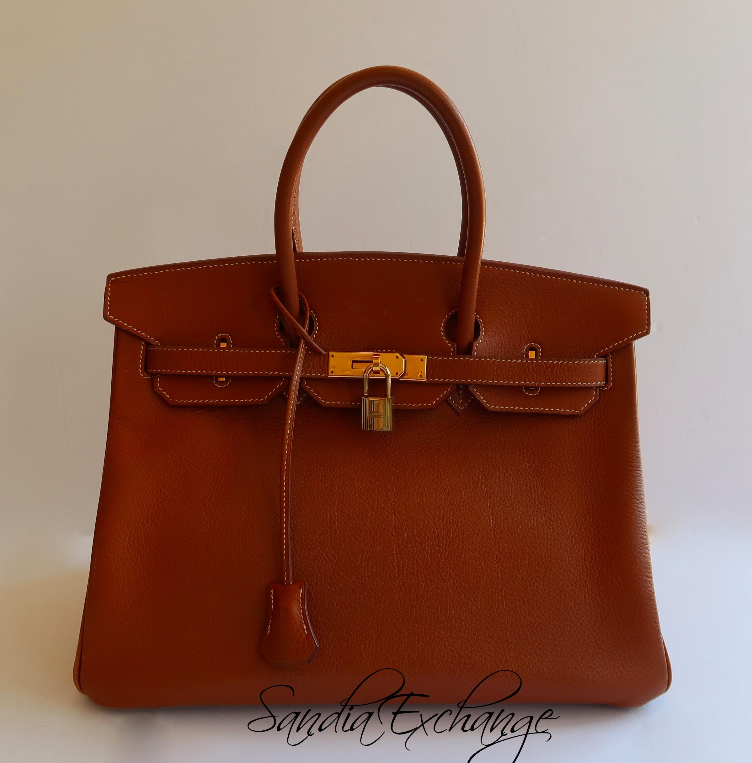 2638234142b0 Authentic HERMES Birkin 35 cm Togo Medium Brown Gold Hardware Vintage