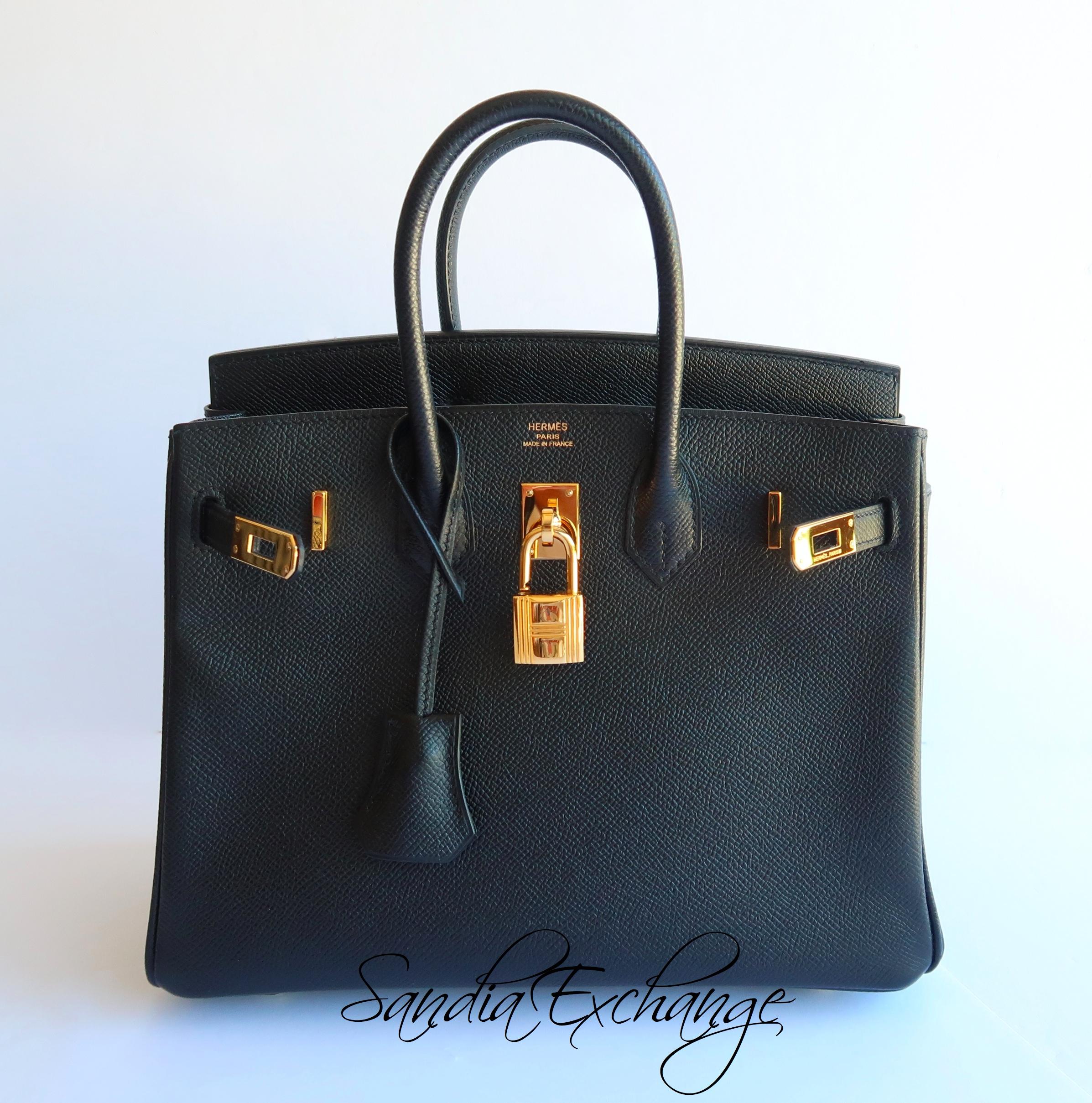 0a569bda1678 HERMES Birkin 25 cm Black Noir Epsom Gold Hardware RARE! Authentic ...