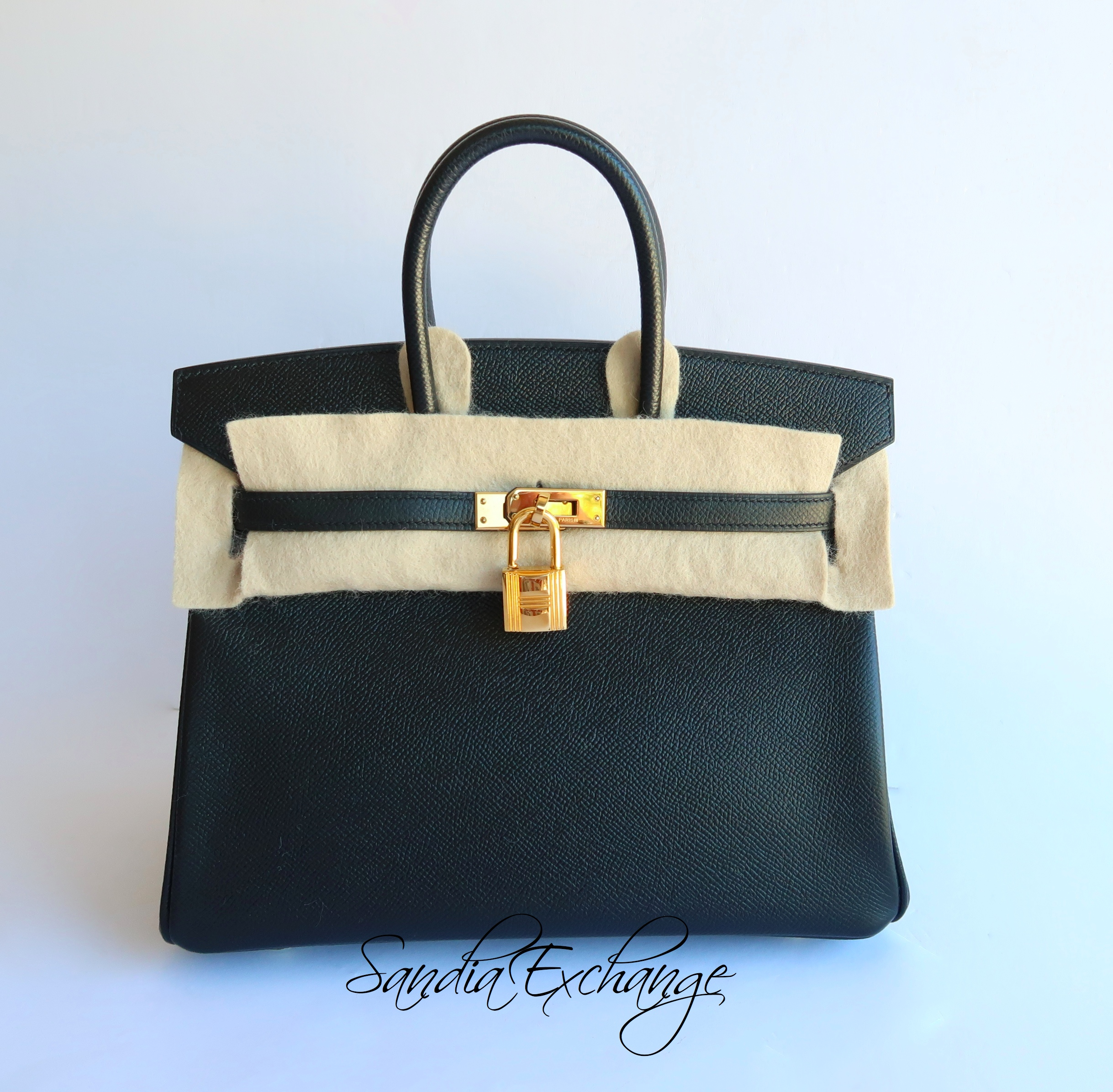 9a70e781b7 HERMES Birkin 25 cm Black Noir Epsom Gold Hardware RARE! Authentic ...