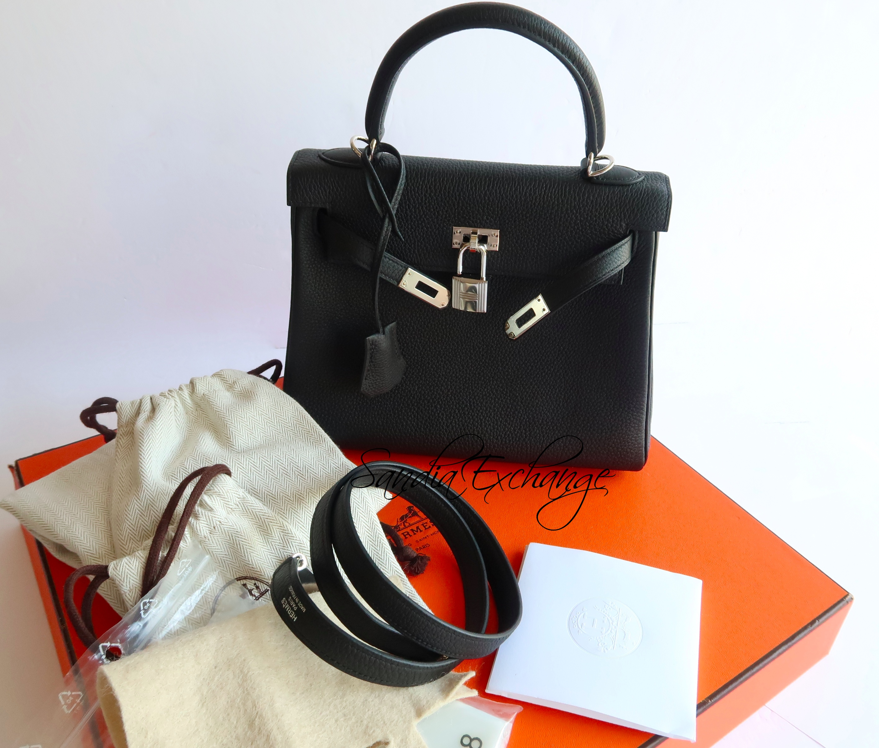 841d836a19e5 NEW Hermes Kelly 25 cm Black Togo Palladium Hardware Authentic ...
