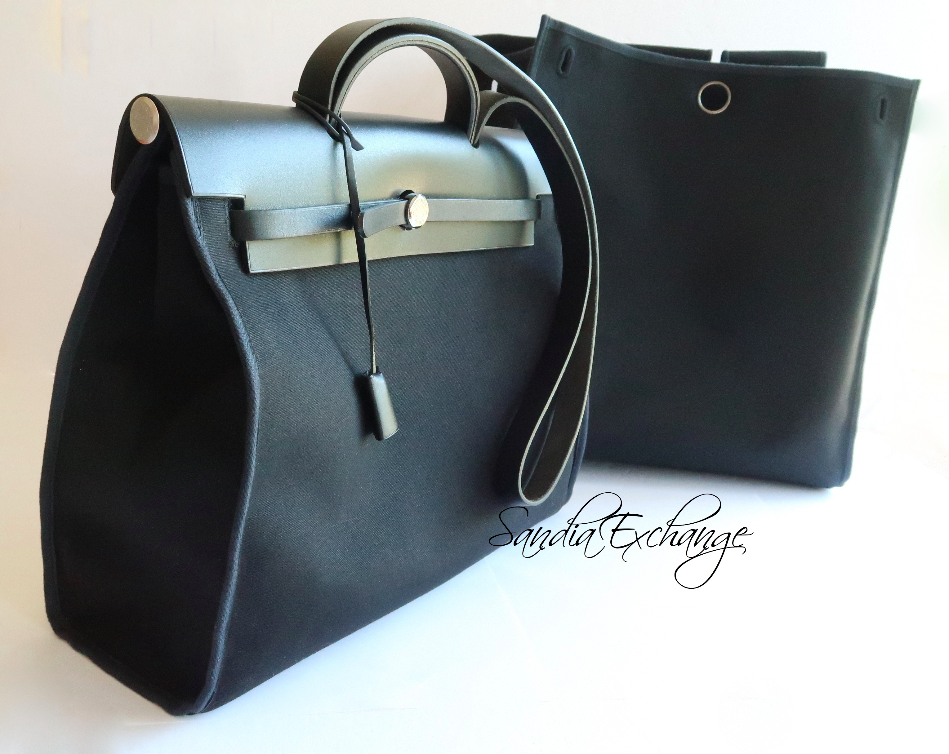 2098f2dba Authentic Hermes Herbag MM size Black Leather Men's bag with Replacement Bag