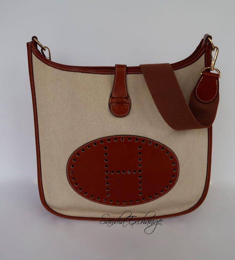 9dfbe6129df ... where can i buy authentic hermes evelyne barenia toile gm gold hardware  messenger bag vintage c95db