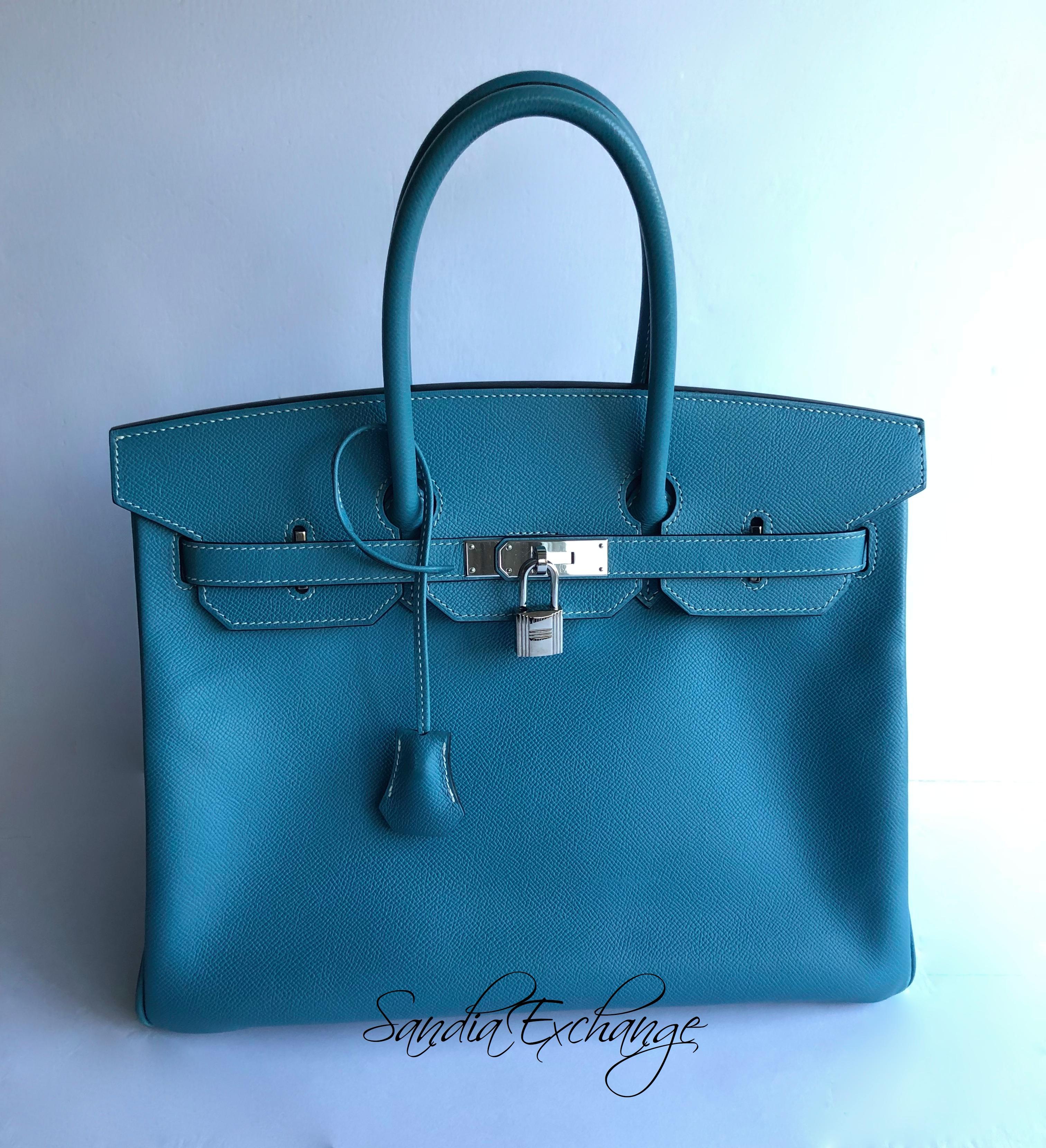 d062f9117b6e Authentic HERMES Birkin 35 cm Blue Jean Epsom Palladium Hardware HERMÈS