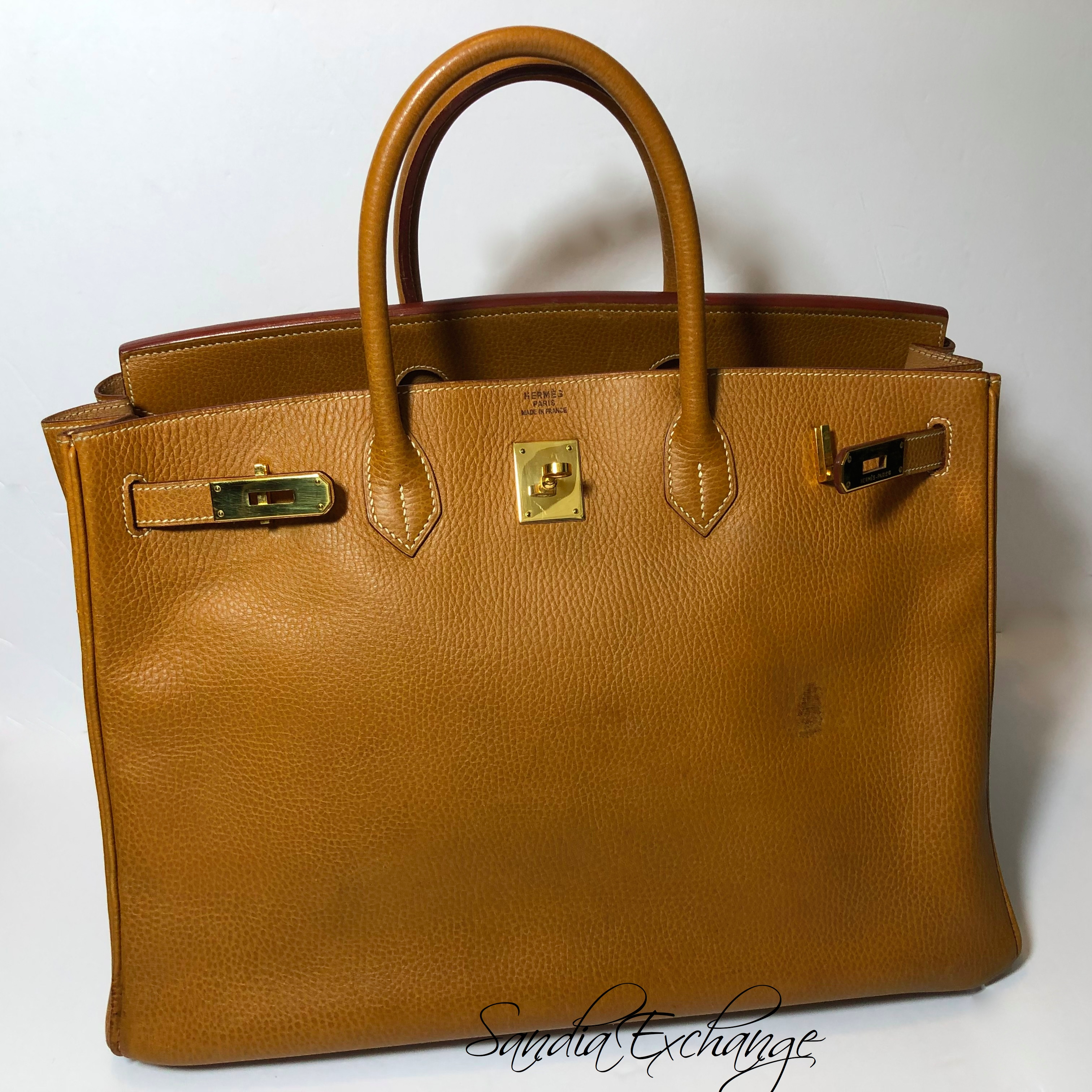 Hermes Birkin 40 cm Gold Ardennes Gold Hardware Authentic Vintage