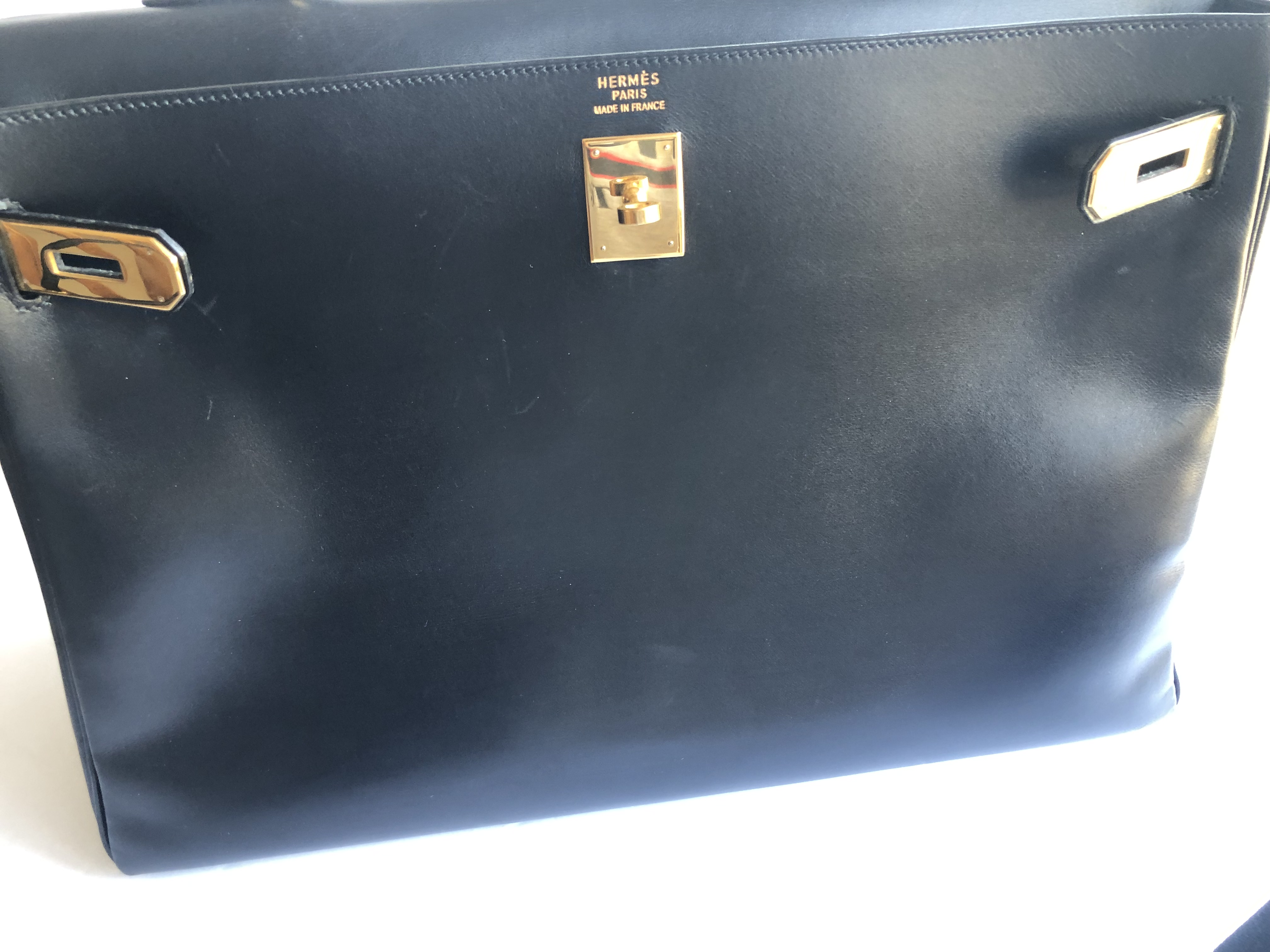 cddeef2fdf Authentic HERMES Kelly 40 cm Black Noir Box Calf Gold Hardware Vintage