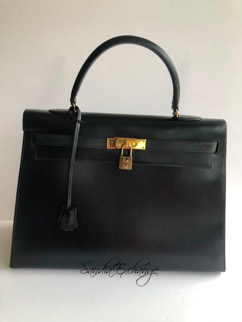 e78b1e33c4dc Authentic HERMES Sellier Kelly 35 cm Black Box Calf Gold Hardware Vintage –  SANDIA EXCHANGE